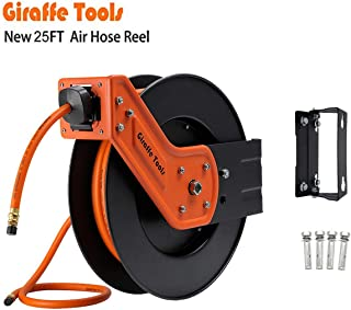 Giraffe Retractable Air Hose Reel with 3/8 in. x 25 Ft Hybrid Air Hose, Industrial Grade Auto Rewind 300 PSI Heavy Duty Steel Reel