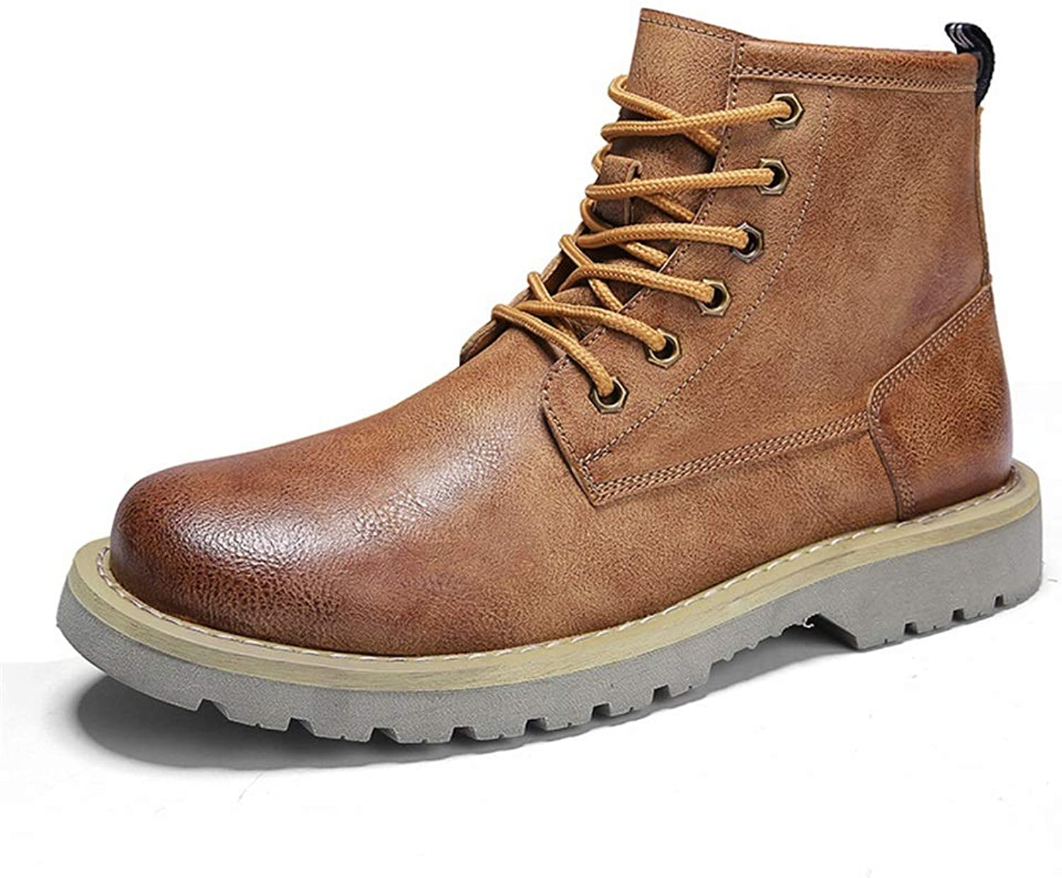Men's Boots, Fall Winter Tooling Martin Boots Men's Ankle Boots High-top Microfiber Leather Outdoor Leather Boots