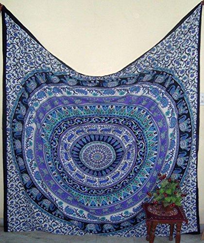 glg textilesnew colección de tapices de la reina de bohemia mandala de la estrella del elefante indio intrincado colcha colcha tapices 92x82 pulgadas