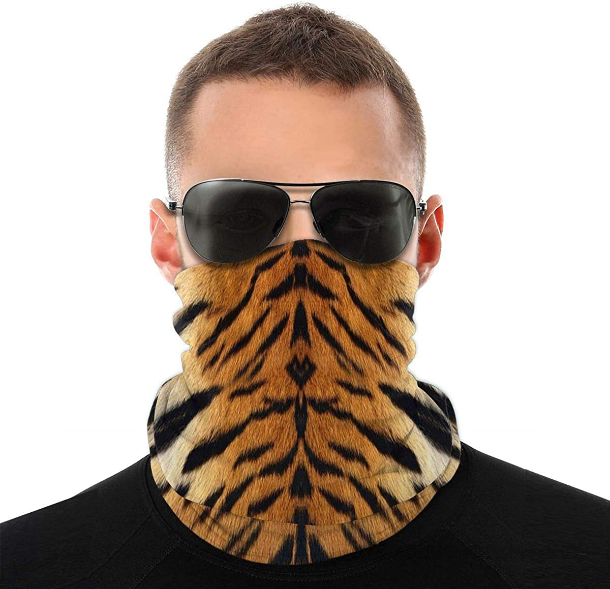 KiuLoam Tiger Leather Skin Print Seamless Face Mask Bandanas Neck Gaiter for Men and Women, Multifunction Headband Scarf for Dust, Outdoors, Sports
