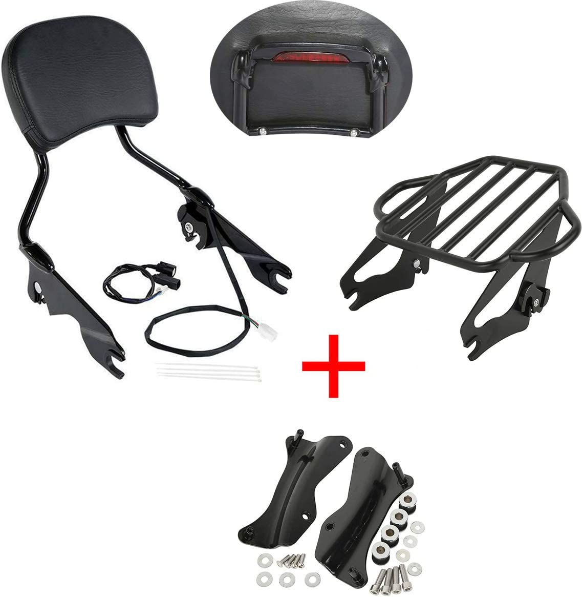 Ranking TOP1 TCMT Black Sissy Bar Luggage Rack Docking Translated Fo Brake Light Fit Kit