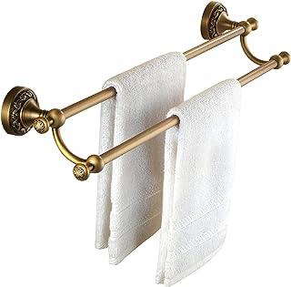 XXIOJUN アンティーク真鍮浴室タオルホルダー、アンチラストシングル/ダブルタオルバー、バスルームやキッチン用タオルラックソリッド銅タオルラック (Color : A, Size : 40CM)