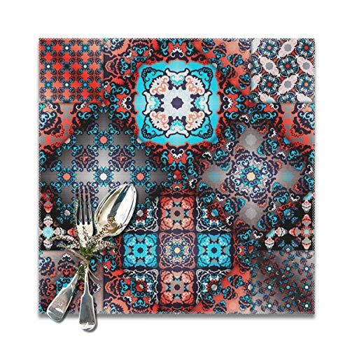Dataqe - Juego de 6 manteles Individuales de cerámica, diseño Abstracto de retales, antiincrustantes, Plegables, Lavables, 30,5 x 30,5 cm