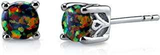 Created Black Opal Stud Earrings Sterling Silver Round Cut 1.25 Carats