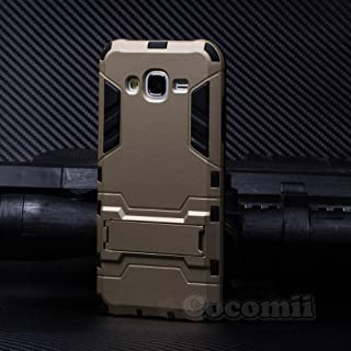 Cocomii Iron Man Armor Galaxy J5 Case NEW [Heavy Duty] Premium Tactical Grip Kickstand Shockproof Hard Bumper Shell [Military Defender] Full Body Dual Layer Rugged Cover for Samsung Galaxy J5 (I.Gold)