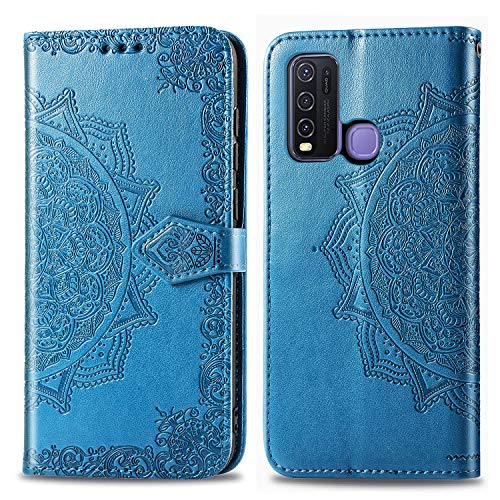 Leather Wallet Case for Vivo Y50/Y30 PU Leather Magnetic Flip Cover with Card Slots Holders Bookstyle Wallet Case for Vivo Y50/Y30 - JESD012378 Blue