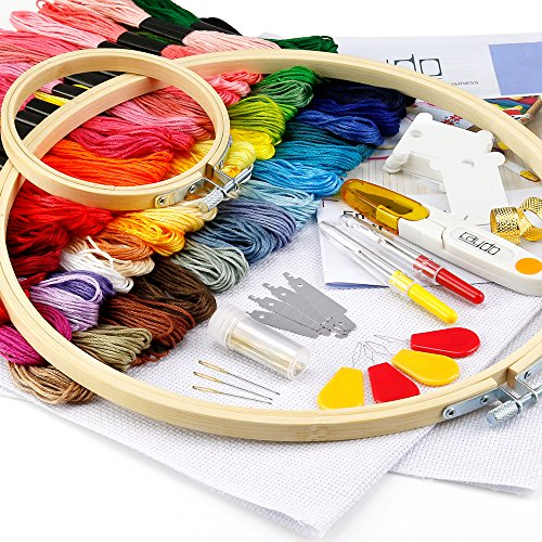 Caydo Embroidery Starter Kit with Operating Instructions and Cross Stitch Tool Kits for Adults and...