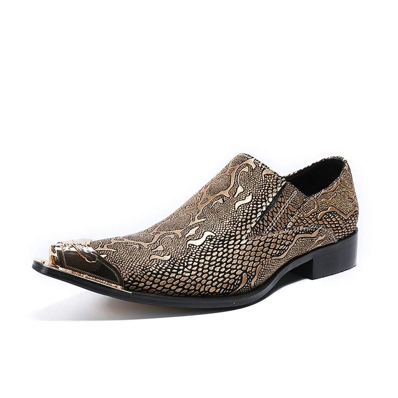 Rui Landed 男性のファッションオックスフォードカジュアル高品質レザーアイロンドリル人格テクスチャメタルつま先フォーマルシューズ (Color : Gold, サイズ : 27.5 CM)