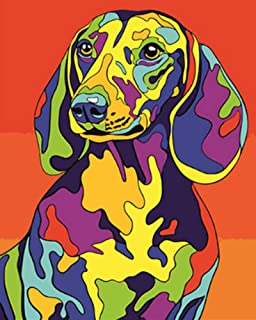 "iCoostor Paint by Numbers DIY Acrylic Painting Kit for Kids & Adults Beginner – 16"" x 20"" Coquettish Dog Pattern"