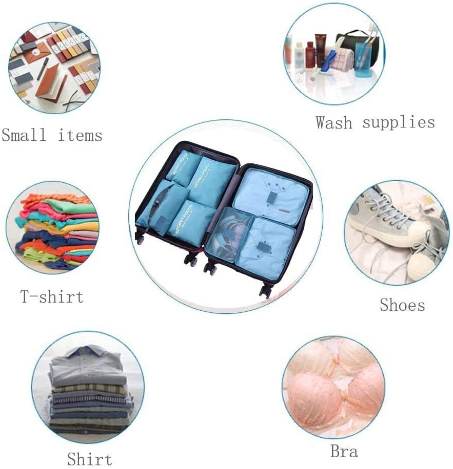 Grey Packing Organizers Storage Bags for Travel Accessories WOWTOY 6PCS Packing Cubes for Travel Luggage Organiser Bag Compression Pouches Clothes Suitcase