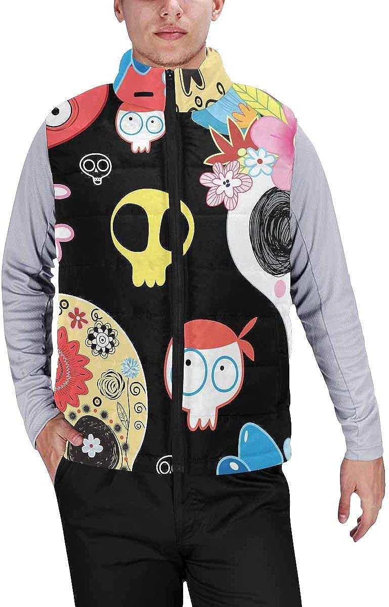 InterestPrint Men's Outdoor Casual Stand Collar Padded Vest Coats Halloween Owl Ghost