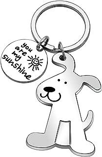 JJIA Couples Gifts, Dog Puppy Metal Keychain Keyring Keyfob Key Ring Car Keyring for Women Men, Silver, Large
