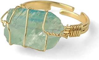 Natural Irregular Crystal Gemstone Ring, Wire Wrap Gold plated Adjustable Open Finger Ring, Healing Anniversary Fashion Je...