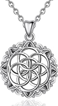 Flower of Life Necklace CELESTIA Seed of Life 925 Sterling Silver Pendant Necklace for Women Girls, Birthdays Friendship Gifts - 18'' Chain
