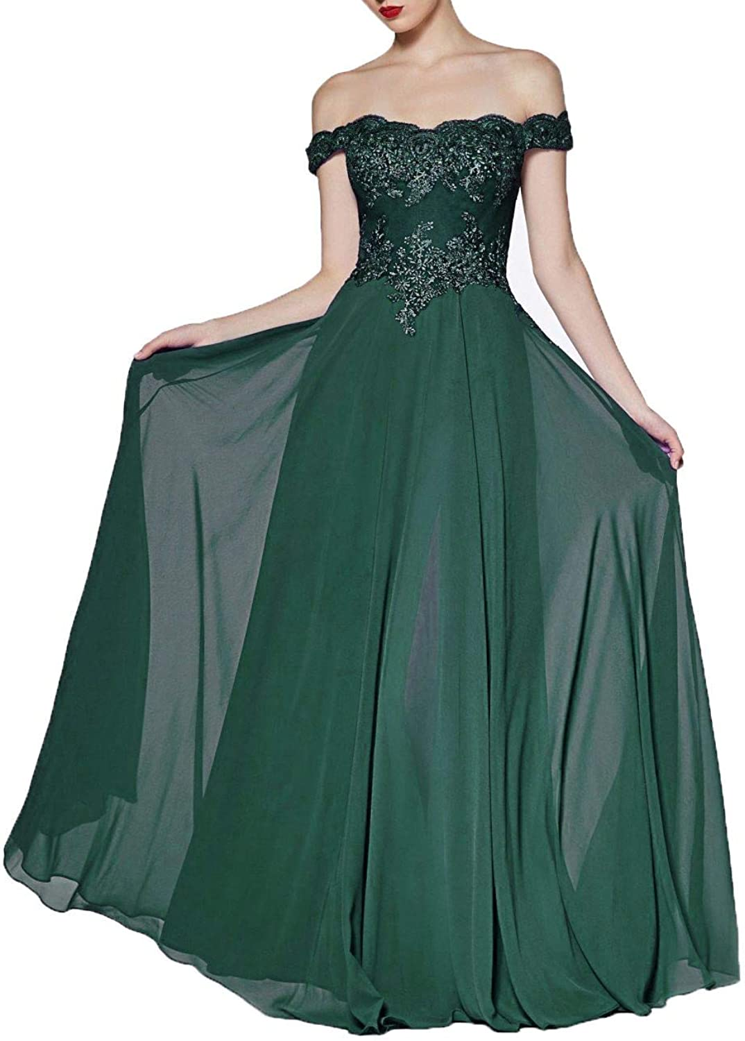 Wanshaqin Women's Aline OffShoulder Long Evening Gown Prom Formal Dress Bridesmaid Gown for Events Party