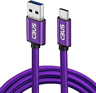 CBUS 3ft الأرجواني 3A شديد التحمل مزدوج مضفر USB-C 3.2 كابل إلى USB-A 3.0 كابل شاحن سريع لـ Pixel 3a، Galaxy S10/S10e/S10+...