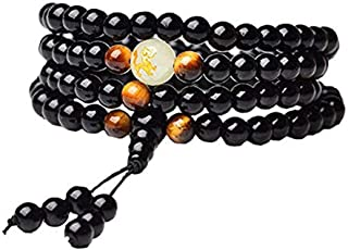 Black Onyx Beads Luminous Dragon Bracelet for Women Men- 8mm / 6mm