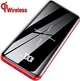 モバイルバッテリー 25000mAh 大容量 Qi ワイヤレス充電 LCD残量表示 鏡面仕上げデザイン 急速充電器 2つ入力ポート/3つ出力ポート 4台同時充電でき 各種スマホ対応