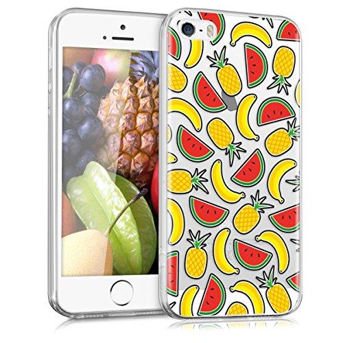 kwmobile Funda Compatible con Apple iPhone SE (1.Gen 2016) / 5 / 5S - Carcasa de TPU Frutas en Amarillo/Rojo/Transparente