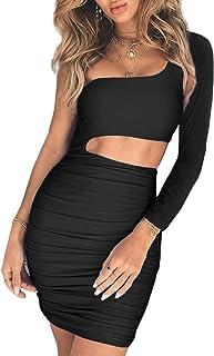 fe281795e4ebe CHYRII Women's Sexy One Shoulder Sleeveless Cutout Ruched Bodycon Mini Club  Dress