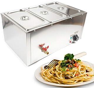 Chauffe-Plats Électrique Chafing Dish en Acier Inoxydable 7 litres 3 Bols Buffets Chauffant Réchauffage d'Aliment Food War...
