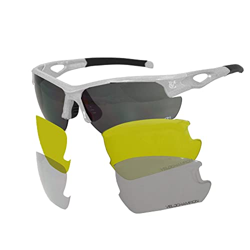 fcd0750f0a VeloChampion Tornado Cycling Running Driving Sports Sunglasses - with 3  Sets of Lenses and Soft Pouch