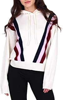 Black Label Womens Cashmere Retro Striped Pullover Hoodie Jacket
