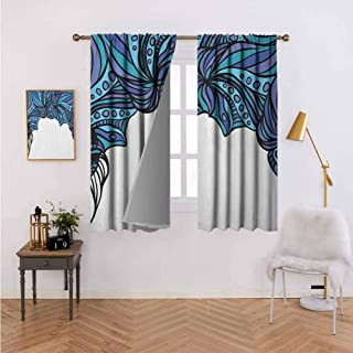 """Curtains for Living Room Abstract Tentacle Pattern with Intertwined Parts Marine Twisted Turquoise Lavander Violet Blue Thermal Insulated Blackout Curtains 55""""x39"""""""