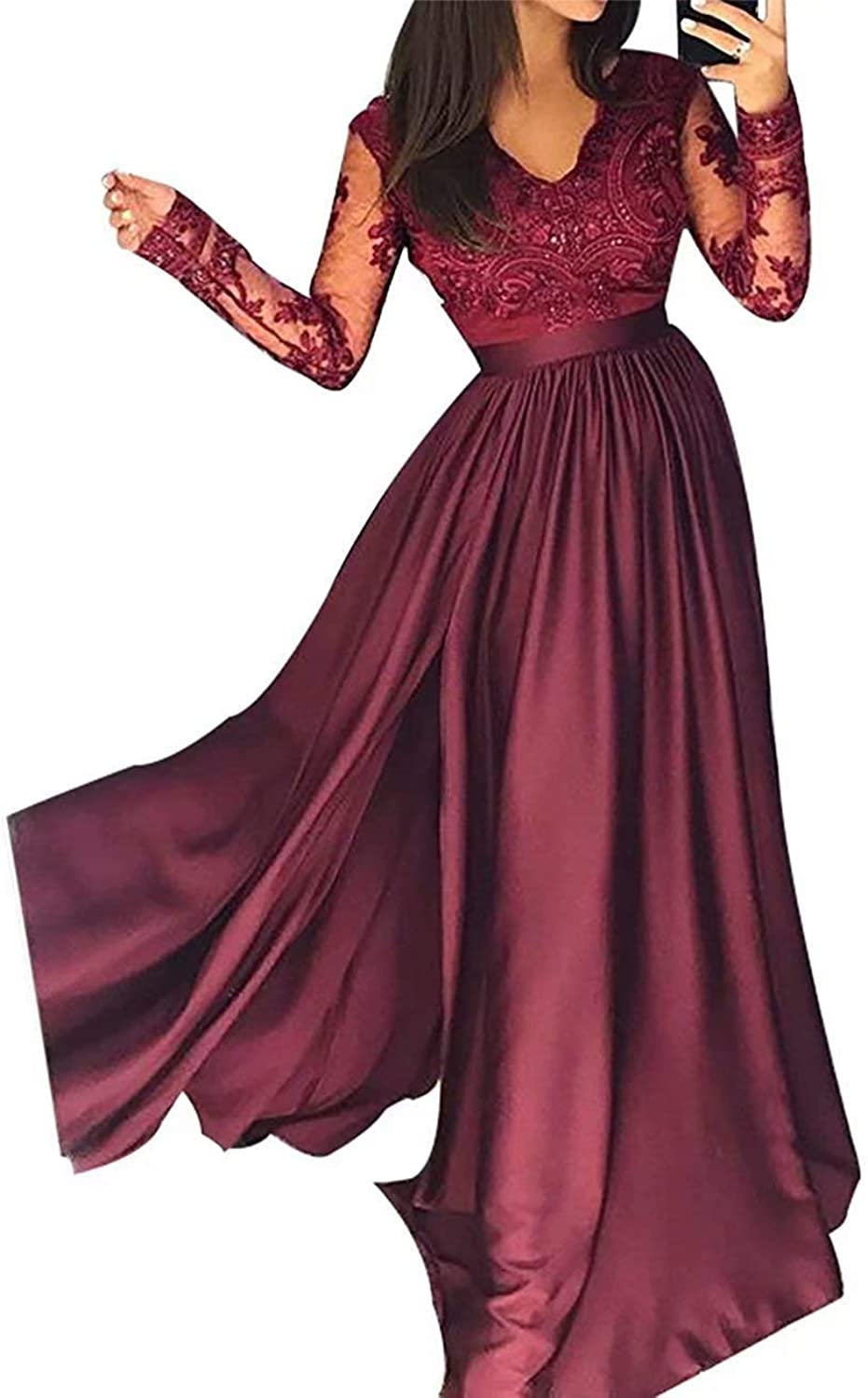 Ubride 2109 Women's Long Lace Illusion Sleeves V Neck Evening Formal Prom Dress with Split