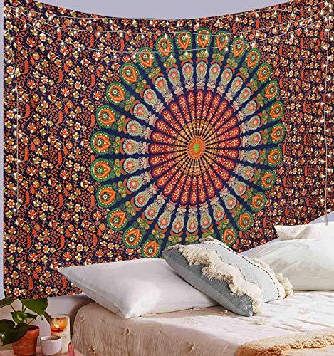ANJANIYA Indian Mandala Tapestry, Indian Hippie Hippy Wall Hanging, Bohemian Wall Hanging Tapestries, Bedspread Beach Tapestry (Orange Blue, Medium (54X60 inches))