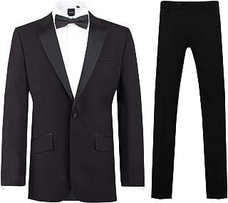 Mens Black 2 Piece Tuxedo Slim Fit Peak Lapel Evening Dinner Suit