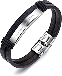 Free Engraving Stainless Steel Nameplate Personalized Custom Name Coordinates ID Leather Bracelets for Men Women, 8.0