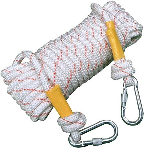 Schlingen Corde D'Escalade Noyau De Fil Extérieur Sécuritéévasion Nylon Corde De Sauvetage Résistant à L'abrasion Ménage,blanc-20m12mm