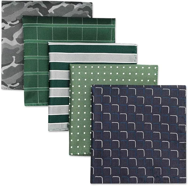 YFQHDD 5 Pieces Colorful Assorted Mens Pocket Square Silk Classic Handkerchief Set Gift Colorful (Color : B, Size : 32x32CM)