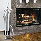 5 Pieces Fireplace Tools Sets Silver Wrought Iron Fire Place Tool Set