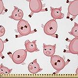 ABAKUHAUS Schwein Stoff als Meterware, Cartoon lächelnde