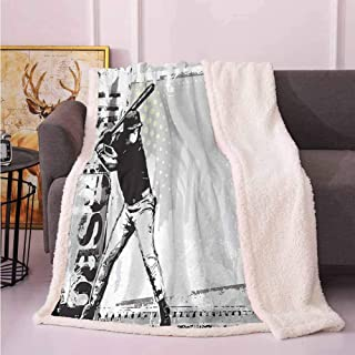Throws for Couch Throw Blanket for Bed Baseball,Hitter in Field Graphic Distressed Backdrop Fast as You Can Image Baseball Themed,Black White 60