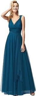 Women's Elegant V Neck Floor Length A Line Empire Waist Long Tulle Bridesmaid Dresses 07303