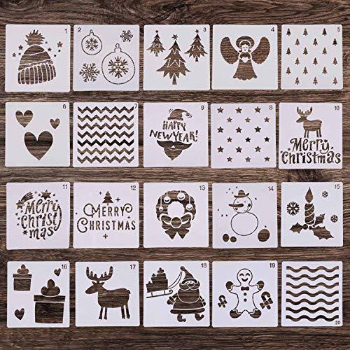 20 plantillas de pintura de Navidad, plantillas de plástico reutilizables, plantilla de dibujo de 5 x 5 pulgadas...
