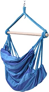 PROSPERLY U.S. Product Blue Deluxe Hammock Rope Chair Patio Porch Yard Tree Hanging Air Swing Outdoor