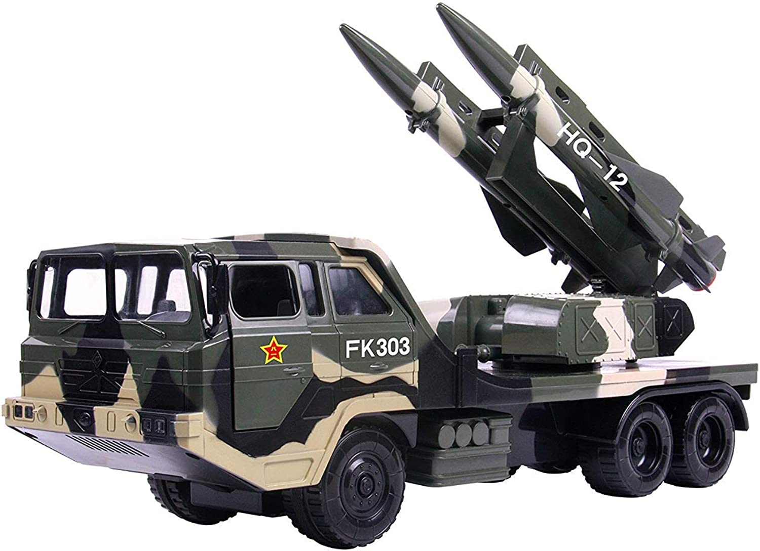 Kaiaki Military Missile Transport Army Truck Anti Aircraft Twin Missile Jungle Camouflage Toy Truck