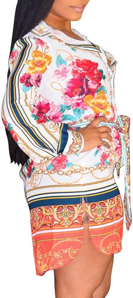 Women's Sexy Floral Button Down Shirts Long Sleeve Plus Size Blouse Tops T-Shirt Dress
