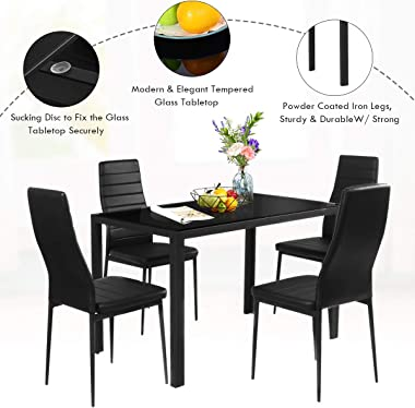 S AFSTAR 5 Piece Dining Table Set, Glass Top Table and 4 Leather Padded Chairs for Small Spaces, Modern Kitchen Dining Room F