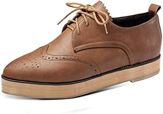 Womens PU Leather Oxfords Brogue Wingtip Lace up Chunky High Heel Shoes Dress Flat Platform Oxfords