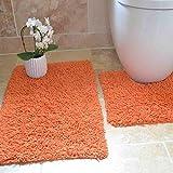 Tony's Textiles Tappetini per Bagno - 100% Cotone Ritorto - Set da 2 - Arancione...