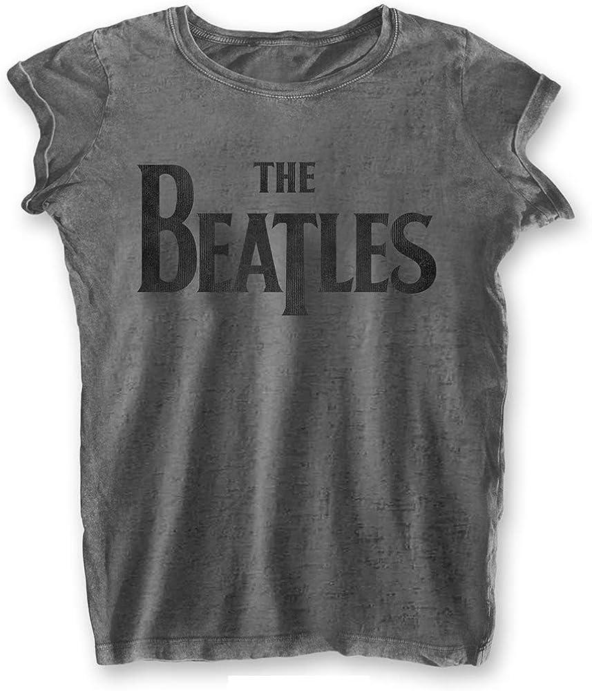Beatles The Oversize Logo - Camiseta de manga corta para mujer (gris)