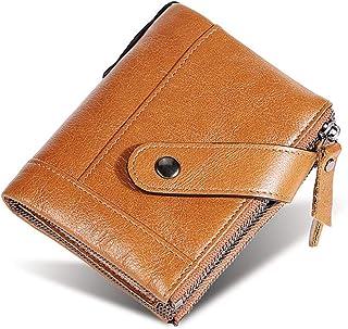 Rfid Blocking - Portafoglio da uomo in vera pelle bovina con tasca con cerniera per monete 2020
