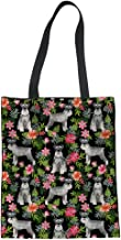 YORXINGY Women Canvas Tote Bags Graphic Stylish Schnauzer Floral Shopping Shoulder Handbag with Handles Reusable Grocery Bags Foldable