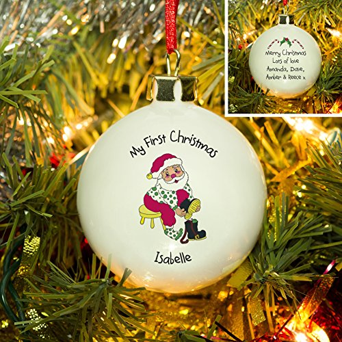 First Christmas Santa Bone China Bauble