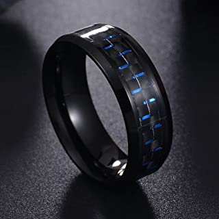 HYLJZ Anello Fashion Red Ring Jewelry Titanium Steel Black Carbon Fiber Rings for Men